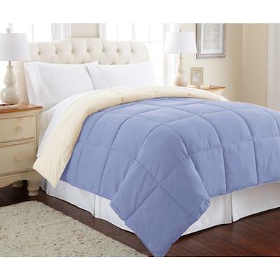 Down Alternative Reversible Blue/Cream Queen Comforter