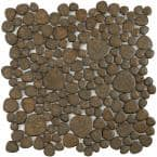 Pebble Brownstone 11 in. x 11 in. x 6 mm Porcelain Mosaic Tile (8.6 sq. ft. / case)