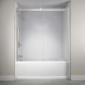 60 in. x 59 in. Semi-Frameless Exposed Sliding Shower Door in Brushed Nickel