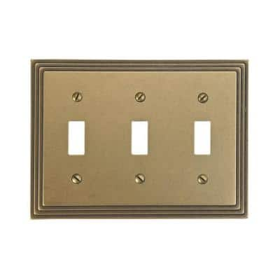 Tiered 3 Gang Toggle Metal Wall Plate - Rustic Brass