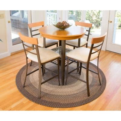 Ombre Spanish Red 7 ft. x 9 ft. Oval Indoor/Outdoor Braided Area Rug