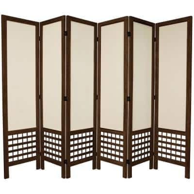 5.5 ft. Burnt Brown Open Muslin 6-Panel Room Divider