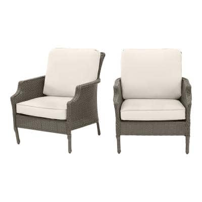 Grayson Ash Gray Wicker Outdoor Patio Lounge Chair with CushionGuard Almond Tan Cushions (2-Pack)