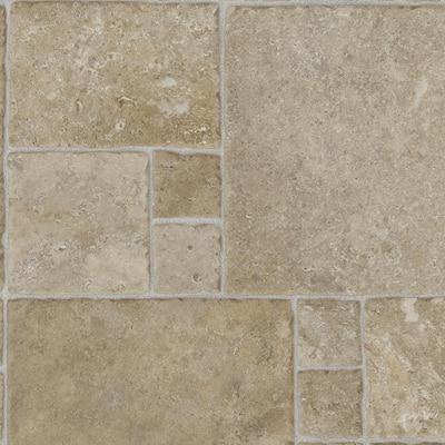 Sandstone Mosaic Stone Residential Vinyl Sheet Flooring 12 ft. Wide x Cut to Length