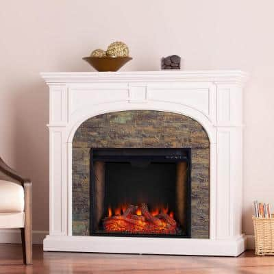 Agelina Alexa-Enabled 45.75 in. Electric Smart Fireplace with Faux Stone in White