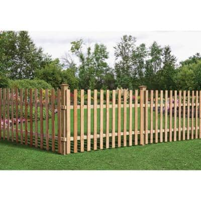 3-1/2 ft. x 8 ft. Western Red Cedar Spaced Picket Flat Top Fence Panel Kit