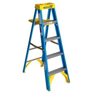 5 ft. Fiberglass Step Ladder with Shelf 250 lb. Load Capacity Type I Duty Rating