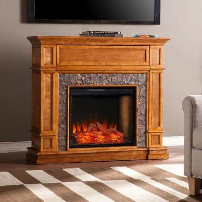 Ranson Alexa-Enabled 45.5 in. Electric Smart Fireplace with Faux Stone in Sienna