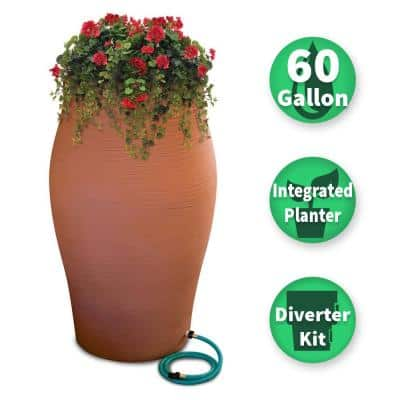 60 Gal. Terra Cotta Decorative Rain Barrel Kit with Planter and Diverter System