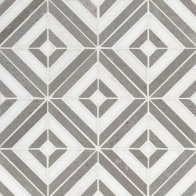 Rhombix Dove 12 in. x 12 in. x 10 mm Polished Marble Mosaic Tile (10 sq. ft. / case)