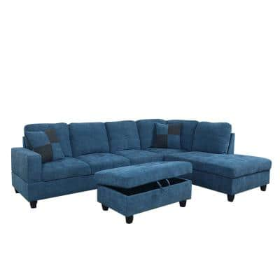 3-Piece Dark Blue Microfiber 4-Seater L-Shaped Right-Facing Chaise Sectional Sofa with Ottoman