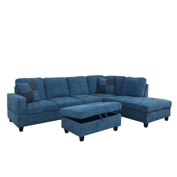 Star Home Living 3 Piece Dark Blue, Microfiber Sofa Sectionals