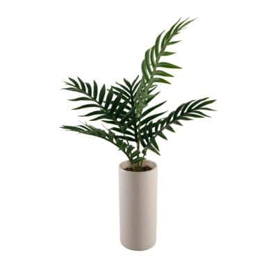 28 in. Palm in 10.5 in. Textured Ceramic Vase
