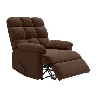 34 in. Width Big and Tall Brown Polyester Tufted Wall Hugger Recliner