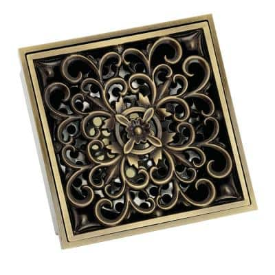 Scroll 4 in. Square Grid Shower Drain, Antique Brass