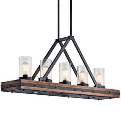 Colerne 5-Light Auburn Stained Linear Chandelier with Clear Seeded Glass Shade