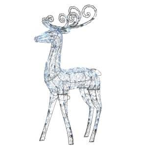 48 in. Ice Crystal Bead Standing Deer with 105 Cool White Twinkling LED
