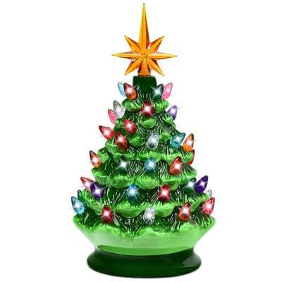 9.5 in. Christmas Green Ceramic Tree with Lights