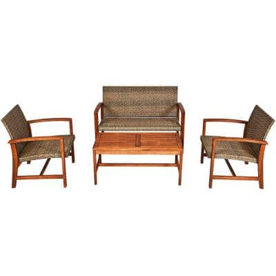 4-Piece Wood and Wicker Outdoor Loveseat Sectional Set