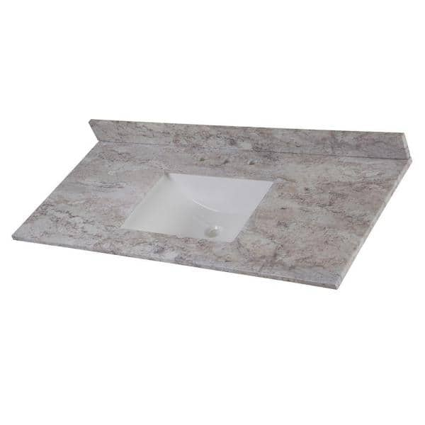 Home Decorators Collection 49 In W X 22 In D Stone Effects Single Sink Vanity Top In Winter Mist Serst49 Wm The Home Depot