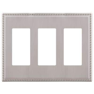 Perlina 3 Gang Rocker Metal Wall Plate - Brushed Nickel