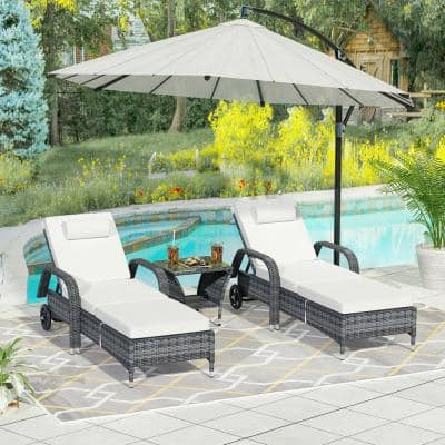 2-Piece Patio Rattan Wicker Outdoor Chaise Lounge Chair with Adjustable Back, Wheels, Tea Table with White Cushions