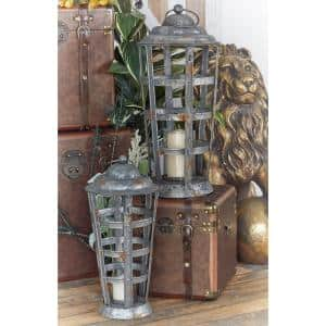 Iron Gray Cross-Weave Candle Lanterns (Set of 2)