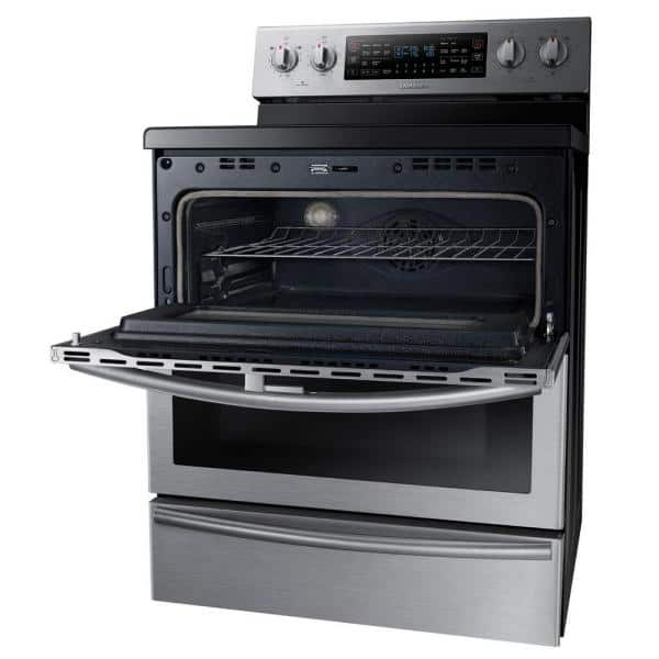 Samsung 30 In 5 9 Cu Ft Flex Duo Double Oven Electric Range With Self Cleaning Convection Dual Door Oven In Stainless Steel Ne59j7850ws The Home Depot