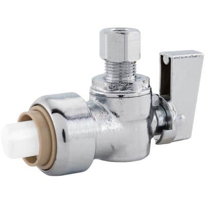 PlumBite 1/2 in. Push On x 1/4 in. O.D. Compression Chrome Plated Brass Quarter-Turn Angle Supply Stop Valve