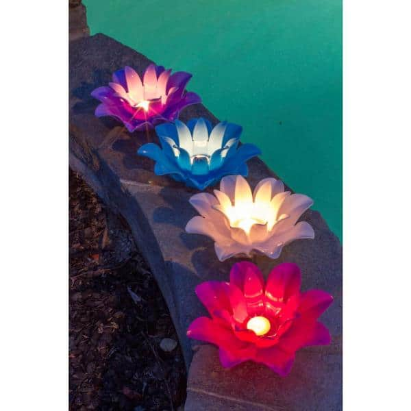 Poolmaster Floating Lotus Swimming Pool Lights Set Of 4 54513 The Home Depot