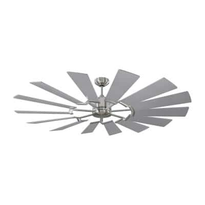 Prairie 62 in. Integrated LED Indoor/Outdoor Brushed Steel Ceiling Fan with Dual Washed Oak or Silver Blades and Remote