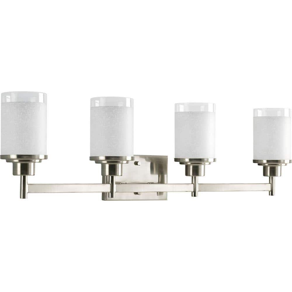 Progress Lighting Alexa Collection 31 In 4 Light Brushed Nickel Bathroom Vanity Light With Glass Shades P2998 09 The Home Depot