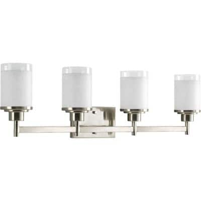Alexa Collection 4-Light Brushed Nickel Etched Opal Glass Modern Bath Vanity Light
