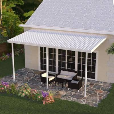 12 ft. x 10 ft. White Aluminum Attached Solid Patio Cover with 3 Posts (20 lbs. Live Load)