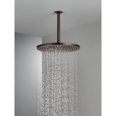 1-Spray 11.8 in. Single Wall Mount Fixed Rain Shower Head in Venetian Bronze