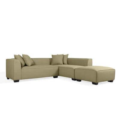 Phoenix 3-Piece Barley Tan Linen 4-Seater L-Shaped Right-Facing Sectional Sofa with Ottoman