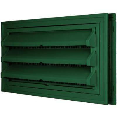 9-3/8 in. x 17-1/2 in. Foundation Vent Kit with Trim Ring and Optional Fixed Louvers (Molded Screen) #028 Forest Green
