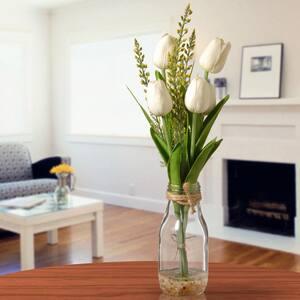 White Tulip Arrangement in Glass Vase