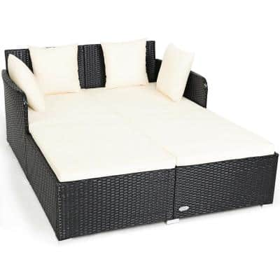 Black 1-Piece Metal Outdoor Day Bed with White Cushions and Pillows