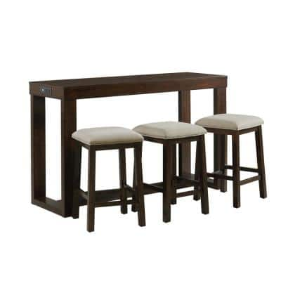 Drew 4-Piece Dark Walnut Bar Table Set