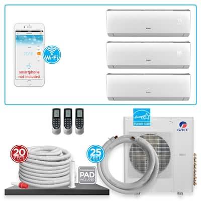 Multi-21 Triple Zone 31000 BTU Wi-Fi Ductless Mini Split Air Conditioner & Heat Pump with 25 ft. Install Kit-230V/60Hz