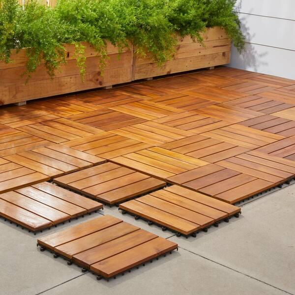 Vifah Roch 4 Slat 12 In X Wood Outdoor Balcony Deck Tile 10 Sq Ft Case A3458 488 5 11 The Home Depot
