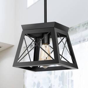 1-Light Matte Black Pendant with Geometric Metal Cage