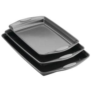 3-Piece Gray Bakeware Nonstick Cookie Pan Set with Sea Salt Gray Silicone Grips