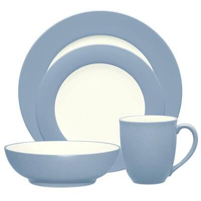 Colorwave Ice Light Blue Stoneware Rim 4-Piece Place Setting (ServIce Light Bluefor 1)