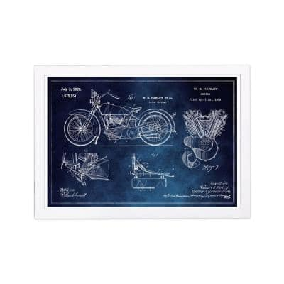 "Transportation ""Harley Engine 1923 Set Horiz Blue Chalkboard"" Framed Art Print 13 in. x 19 in."