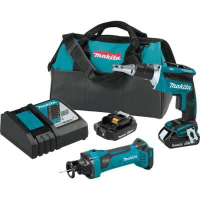 18-Volt 2.0Ah LXT Lithium-Ion Compact Cordless Combo Kit (2-Piece) (Brushless Drywall Screwdriver/ Cut-Out Tool)