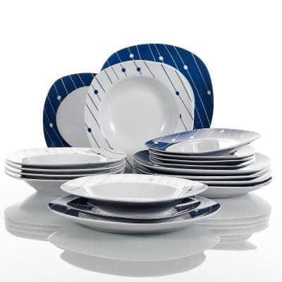 Service Dot 18-Piece Dinner Set White Porcelain of 6 x Dessert Plates 6 x Soup Plates 6 x Dinner Plates (Service for 6)