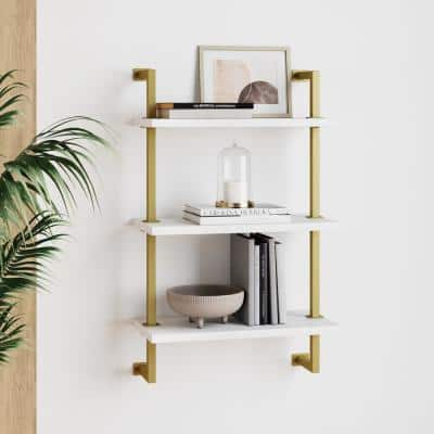 Theo 39 in. Brass Gold and White Wood 3-Shelf Floating Shelves Wall Mount Accent Bookcase with Metal Frame