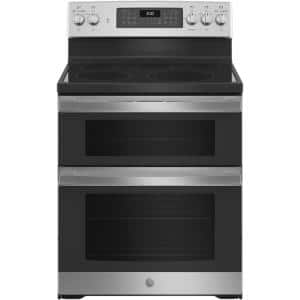 30 in. 6.6 cu. ft. Double Oven Electric Range with Steam-Cleaning Convection Oven in Stainless Steel